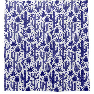 Cactus Pattern - Dark Blue and White Shower Curtain