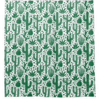 Cactus Pattern - Forest Green and White Shower Curtain