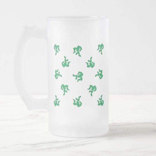 Cactus - pattern. frosted glass beer mug