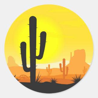 Cactus plants in desert classic round sticker