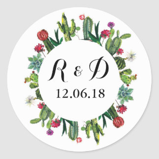 Cactus Stickers Round Mexican Cacti Wedding Label