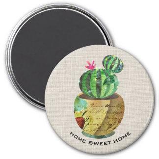 Cactus Succulent Green Plant Burlap Fridge Magnet