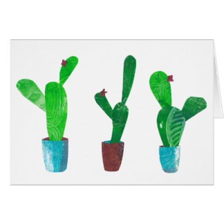 Cactus succulents - mixed media collage card