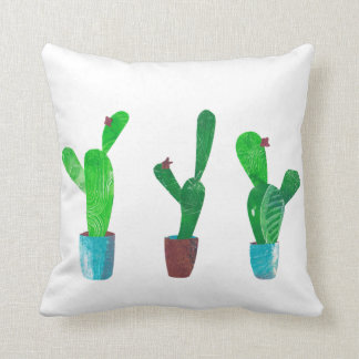 Cactus succulents - mixed media collage cushion