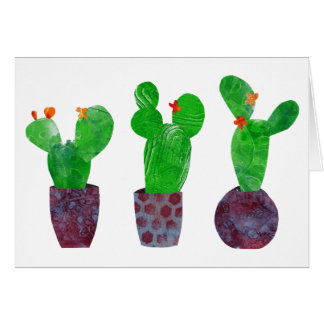 Cactus succulents - mixed media collage -greetings card