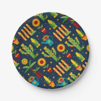 Cactus sunflower on blue Festa Junina pattern 7 Inch Paper Plate