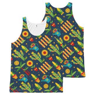 Cactus sunflower on blue Festa Junina pattern All-Over Print Singlet