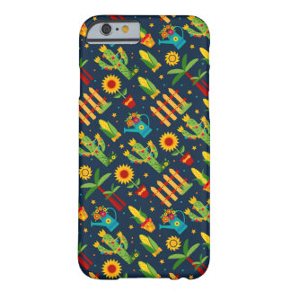 Cactus sunflower on blue Festa Junina pattern Barely There iPhone 6 Case