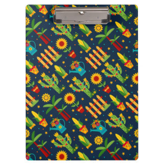 Cactus sunflower on blue Festa Junina pattern Clipboard