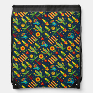 Cactus sunflower on blue Festa Junina pattern Drawstring Bag