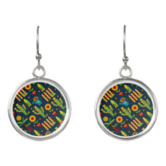 Cactus sunflower on blue Festa Junina pattern Earrings