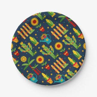 Cactus sunflower on blue Festa Junina pattern Paper Plate