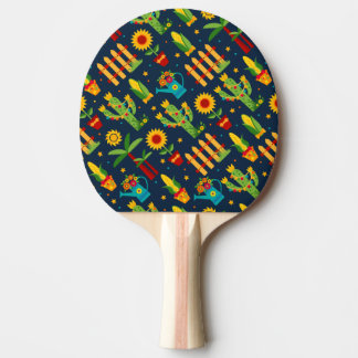 Cactus sunflower on blue Festa Junina pattern Ping Pong Paddle