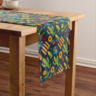 Cactus sunflower on blue Festa Junina pattern Short Table Runner