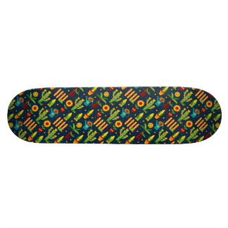 Cactus sunflower on blue Festa Junina pattern Skate Decks