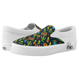 Cactus sunflower on blue Festa Junina pattern Slip-On Shoes