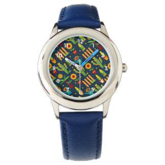 Cactus sunflower on blue Festa Junina pattern Watch
