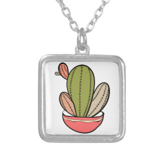 Cactus vector illustration. Hand drawn. Cactus pla Silver Plated Necklace