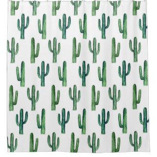 Cactus watercolor. Green botanical. Modern Shower Curtain