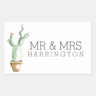 Cactus Watercolor | Mr & Mrs Rectangular Sticker