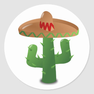 Cactus Wearing Sombrero Round Sticker