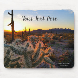 Cactus with Arizona sunset Superstition Wilderness Mouse Pad
