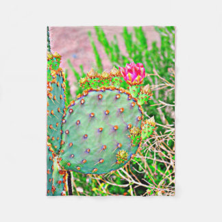Cactus with Pink Flower Fleece Blanket