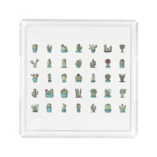 Cactuses and Succulents Illustration Acrylic Tray