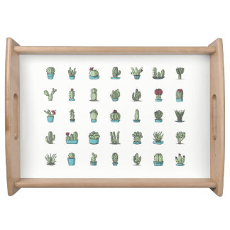 Cactuses and Succulents Illustration Serving Tray