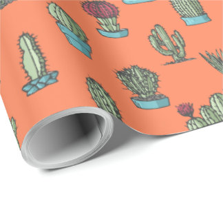 Cactuses and Succulents Pattern Wrapping Paper