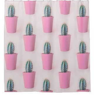 Cacuts in pink pot shower curtain