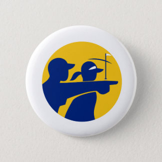 Caddie and Golfer Icon 6 Cm Round Badge