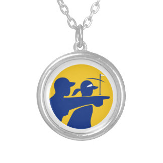 Caddie and Golfer Icon Silver Plated Necklace