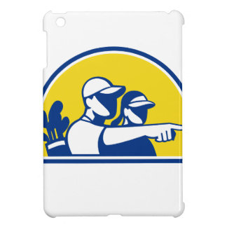 Caddie and Golfer Pointing Retro Cover For The iPad Mini
