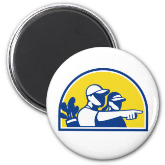 Caddie and Golfer Pointing Retro Magnet