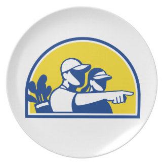 Caddie and Golfer Pointing Retro Plate
