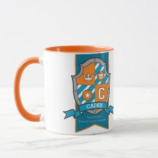 Caden letter C crest orange name meaning mug