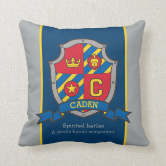 Caden name meaning shield red blue pillow
