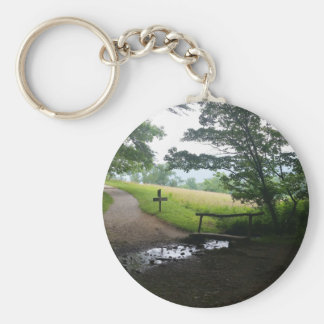 Cades Cove Great Smoky Mountains Basic Round Button Key Ring