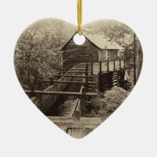 Cades Cove Grist Mill Ceramic Heart Decoration