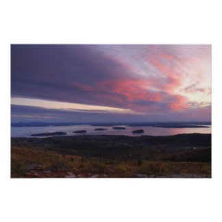 Cadillac Mountain Foliage Sunrise Poster