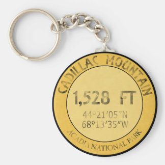 Cadillac Mountain Basic Round Button Key Ring