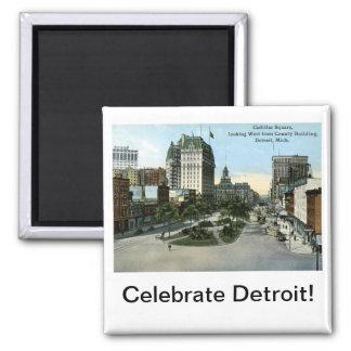 Cadillac Square, Detroit MI Vintage Square Magnet