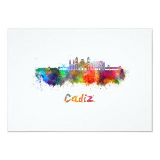 Cadiz skyline in watercolor card