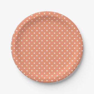 Cadmium Orange and White Tiny Polka Dots Paper Plate