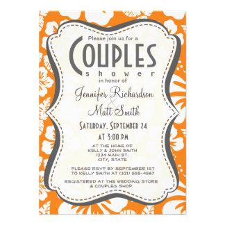 Cadmium Orange Tropical Hibiscus Personalized Invite