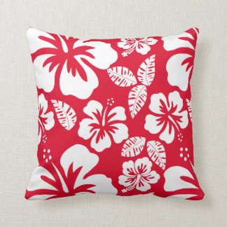 Cadmium Red Tropical Hibiscus Flowers Throw Pillow
