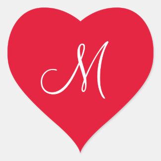 Cadmium Red Your Own Monogrammed Weddings Heart Sticker