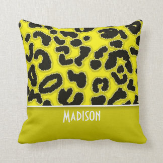 Cadmium Yellow Leopard Animal Print; Personalized Cushion