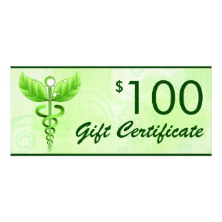Caduceus Alternative Medicine $100 Gift Voucher Rack Card